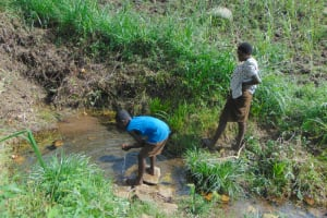 The Water Project: Bukhakunga Community, Wakukha Spring -  Drinking Water Directly From The Spring