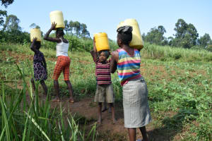 The Water Project: Indulusia Community, Wanyama Spring -  Carrying Water