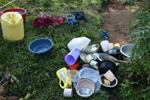 The Water Project: Indulusia Community, Wanyama Spring -  Utensils Waiting To Be Dried