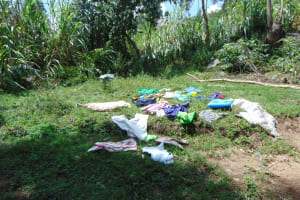 The Water Project: Bukhakunga Community, Maikuva Spring -  Clothes Drying On Ground