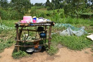 The Water Project: Shamoni Community, Shiundu Spring -  Dishrack