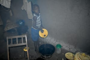 The Water Project: Shamoni Community, Shiundu Spring -  Storing Water In The Kitchen