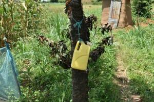 The Water Project: Shamoni Community, Shiundu Spring -  Leaky Tin Handwashing Point