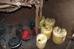 The Water Project: Indulusia Community, Osanya Spring -  Water Storage Inside A Kitchen