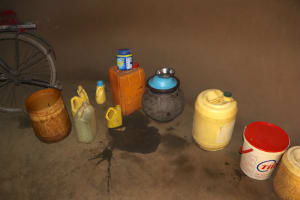 The Water Project: Mukhuyu Community, Gideon Kakai Chelagat Spring -  Storage Containers And A Pot For Drinking Water