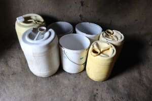 The Water Project: Mukhuyu Community, Gideon Kakai Chelagat Spring -  Storage Containers