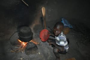 The Water Project: Wepika Community, Musa Mmasi Shikwe Spring -  A Boy Preparing A Meal