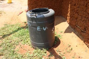 The Water Project: Mukhonje B Community, Peter Yakhama Spring -  Rainwater Harvesting Container