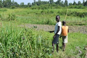 The Water Project: Lunyinya Community, Makunga Spring -  Children Fishing At Pond Near The Spring