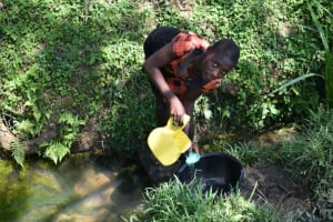 The Water Project: Lunyinya Community, Makunga Spring -  Sieving The Water Is Essential
