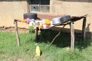 The Water Project: Mwera Community, Mukunga Spring -  Dishrack