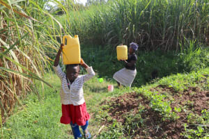 The Water Project: Mwera Community, Mukunga Spring -  Joy And Esther Carrying Water Home