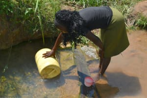 The Water Project: Makunga Community, Tabarachi Spring -  Fetching Water Fom The Spring