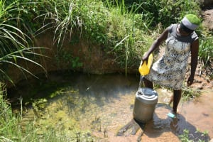 The Water Project: Makunga Community, Tabarachi Spring -  Pouring Water Into Larger Jerrycan