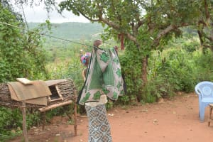 The Water Project: Thona Community A -  Hanging Clothes On The Line