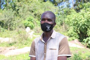 The Water Project: Bukhaywa Community, Shidero Spring -  Pastor Indeche With His Mask On