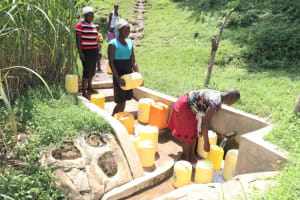 The Water Project: Buyangu Community, Osundwa Spring -  Mercy At The Spring Ready To Fetch Water