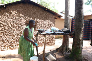 The Water Project: Shitoto Community, Abraham Spring -  At The Dish Rack Airing Her Utensils