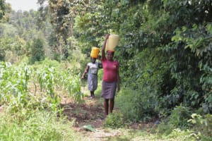 The Water Project: Ematetie Community, Weku Spring -  Walking Home With Water