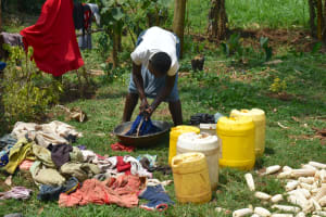 The Water Project: Malekha Central Community, Misiko Spring -  Washing Clothes