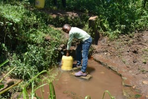 The Water Project: Shamoni Community, Shatuma Spring -  Francis Collecting Water