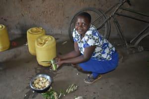 The Water Project: Shamoni Community, Shatuma Spring -  Slicing Plantains