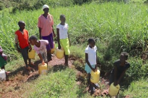 The Water Project: Lukala West Community, Luka Spring -  A Line At The Waterpoint