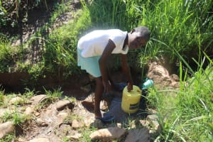 The Water Project: Lukala West Community, Angatia Spring -  Fetching Water At The Water Point