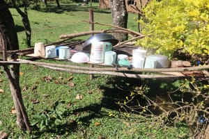 The Water Project: Lukala West Community, Angatia Spring -  Utensils Drying On The Dishrack Outside