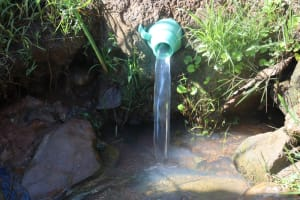 The Water Project: Lukala West Community, Angatia Spring -  Makeshift Discharge Pipe