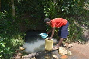 The Water Project: Shikokhwe Community, Mulika Spring -  Collecting Water