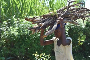 The Water Project: Malekha West Community, Soita Spring -  Carrying Firewood