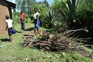 The Water Project: Malekha West Community, Soita Spring -  Family Members Back Home With Firewood