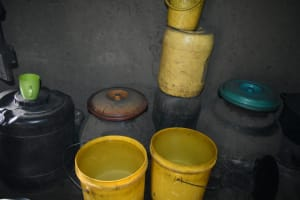 The Water Project: Luyeshe North Community, Reuben Endeche Spring -  Water Storage Containers