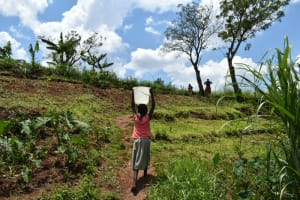 The Water Project: Shihome Community, Oloo Njinuli Spring -  Leaving The Spring