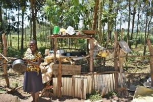 The Water Project: Shianda Community, Govet Lumbasi Spring -  Washing Utensils And Airing On Dishrack