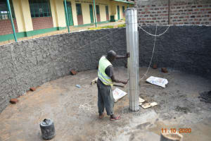 The Water Project: Makunga Secondary School -  Installing First Pillar