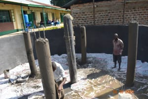The Water Project: Makunga Secondary School -  Plastering The Pillars