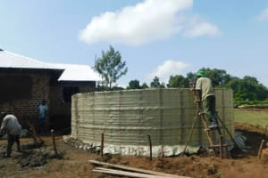 The Water Project: ACK St. Peter's Khabakaya Secondary School -  Tank Takes Shape