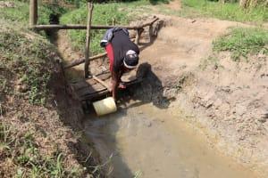 The Water Project: Makhwabuyu Community, Shirandula Spring -  Njeri Collecting Water At The Spring