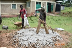 The Water Project: Makunga Secondary School -  Mixing Concrete