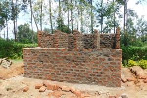 The Water Project: ACK St. Peter's Khabakaya Secondary School -  Latrine Walls Take Shape