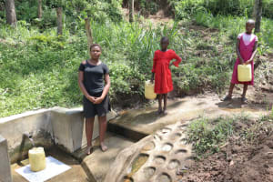 The Water Project: Emukangu Community, Okhaso Spring -  Ivy At The Spring With Other Kids