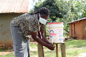 The Water Project: Shitoto Community, William Manga Spring -  Keeping Safe By Washing Hands With Soap And Running Water