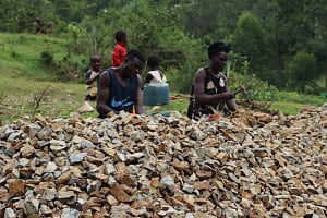 The Water Project: Shamakhokho Community, Wizula Spring -  Processing Gravel At Quarry Site