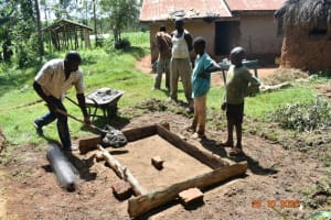 The Water Project: Mahola Community, Oyula Spring -  Casting Of Sanitation Platforms