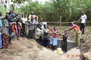 The Water Project: Mahola Community, Oyula Spring -  Field Officer David Handing Over Oyula Spring
