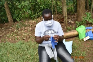 The Water Project: Mahola Community, Oyula Spring -  Mask Making