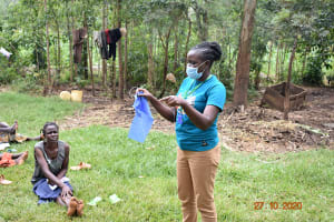 The Water Project: Mahola Community, Oyula Spring -  Trainer Adelaide Leads Mask Making