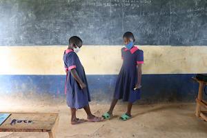The Water Project: Jinjini Friends Primary School -  Practicing Alternative Greetings